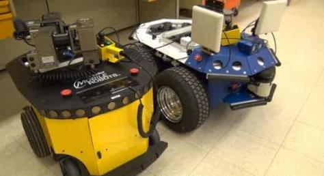The system would include mobile robots, for delivering and retrieving instruments