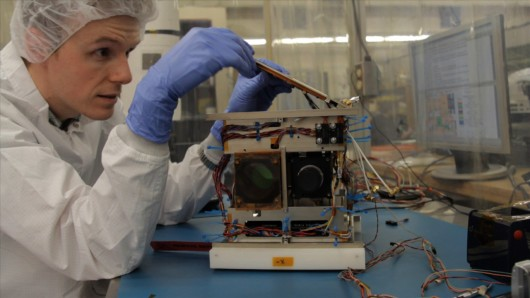 One of the BRITE nano-satellites, as it was being assembled in Toronto