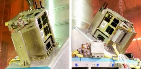 The twin BRITE satellites aboard the PSLV-C20 rocket this Monday morning